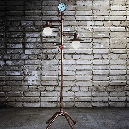 Raelf Europäische Retro Eisen Stehleuchte Dimmer Schalter, Stehlampe Industrie Retro E27 Double Head Eisenrohr Lampenfassung Lampe 1.53m im europäischen Stil aus Schmiedeeisen Wohnzimmer Study Lamp [K -