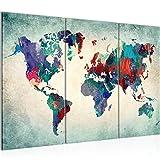 Bilder Weltkarte World Map Wandbild 120 x 80 cm Vlies - Leinwand Bild XXL Format Wandbilder Wohnzimmer Wohnung Deko Kunstdrucke Blau 3 Teilig -100% MADE IN GERMANY - Fertig zum Aufhängen 105131b