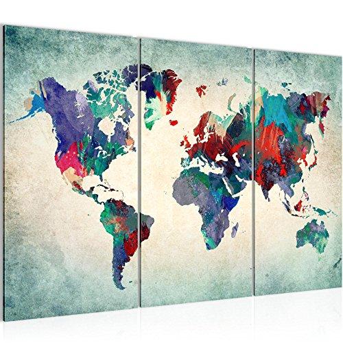 Bilder Weltkarte World map Wandbild 120 x 80 cm Vlies - Leinwand Bild XXL Format Wandbilder Wohnzimmer Wohnung Deko Kunstdrucke Blau 3 Teilig - Made IN Germany - Fertig zum Aufhängen 105131b