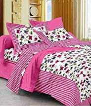Harsh Textiles Handprinted 120 TC Cotton Queen Size Bedsheet with 2 Pillow Cover (Queen Size, Sanganeri Print)