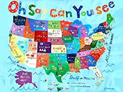 Oopsy Daisy Oh Say Can You See Usa Map Stretched Canvas Wall Art by Jill Mcdonald 30 by 24-Inch 30 by 24-Inch