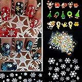 Butterme 12 Blatt Weihnachtsweihnachtsschneeflocke Baum Nagel Kunst Aufkleber Abziehbild Spitze Dekoration DIY Nagel Kunst (Xmas Snowflake)