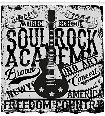 GzHQ Cortina de Ducha Retro Alma Rock Academy Theme Music School Guitarra...