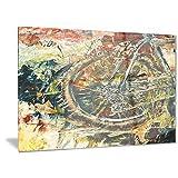 designart Mountain Bike Ölgemälde Metall Wand Kunst–mt6529, rot, 28x12
