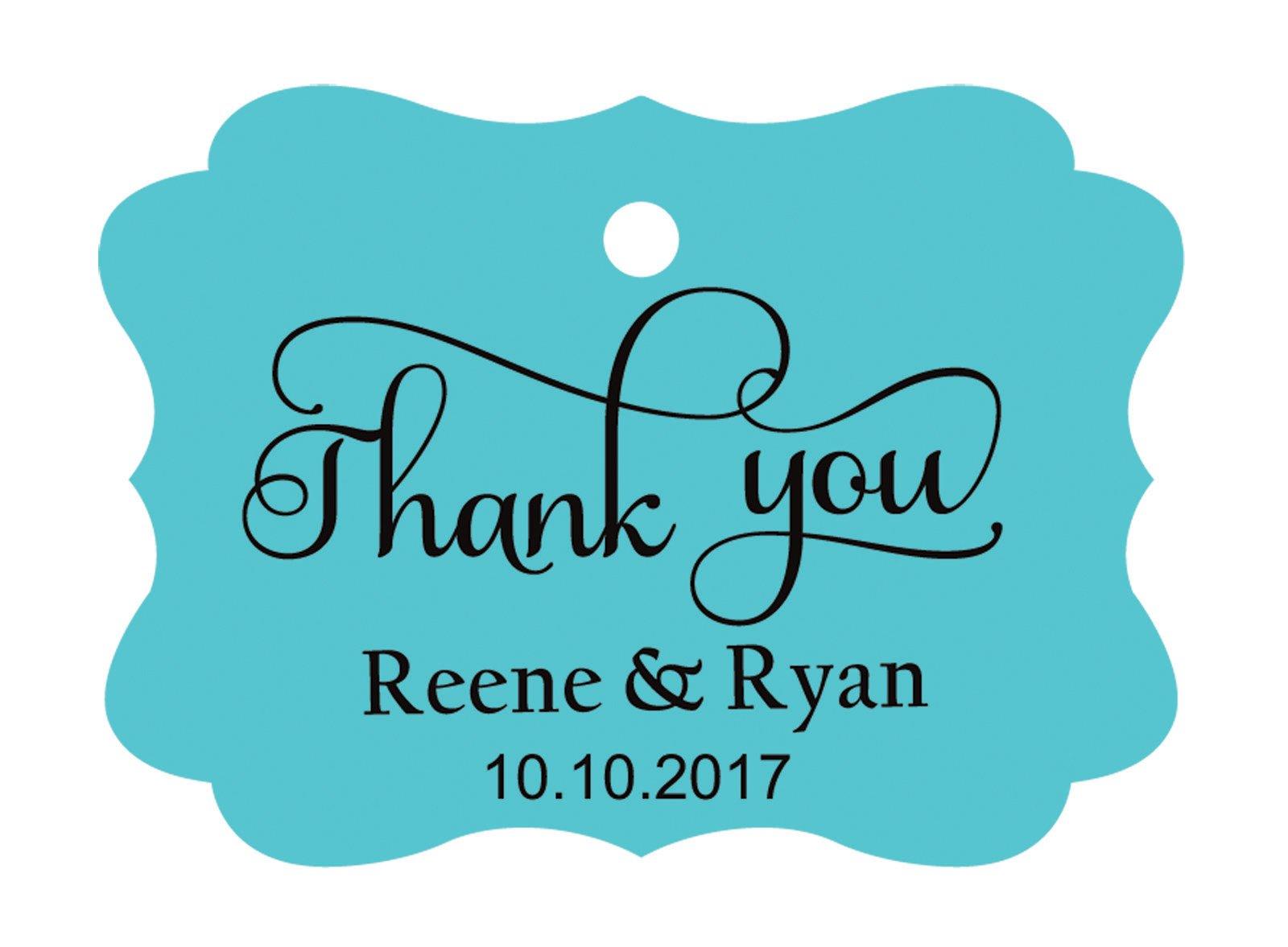 100pcs Thank You custom made cartellini personalizzato matrimonio carta regalo Tag Turquoise