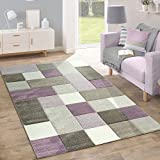 Paco Home Designer Teppich Modern Konturenschnitt Moderne Pastellfarben Kariert Beige Lila, Grösse:80x150 cm