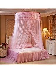 TAFCI Red de mosquitos de lujo princesa pastoral cama de encaje Canopy net cuna mariposa luminosa (Pink)
