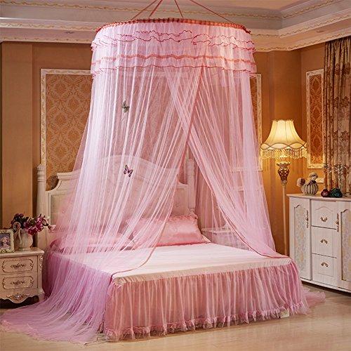 Rosa Net Baldachin (Pueri Bett Baldachin Betthimmel Runde Dome Prinzessin Hanging Mosquito Net (Rosa))