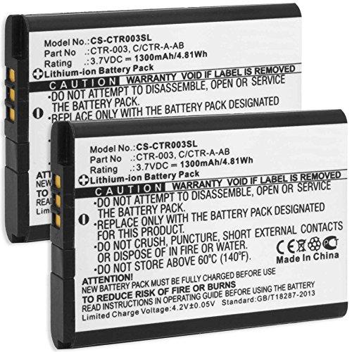 2x Batería para Nintendo 3DS, new 3DS, N3DS | Nintendo 2DS, new 2DS XL, N2DS XL | Controller di Nintendo Wii U Pro (reemplaza batería original Nintendo CTR-001, CTR-003)