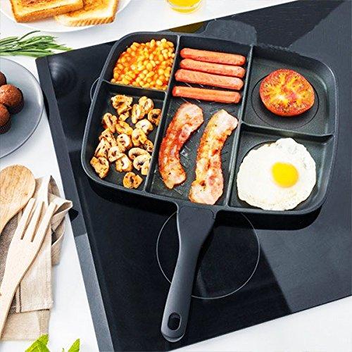 Sartén 5 en 1 cooker, aluminio fundido con antiadherente,apta para cocinas de gas, eléctricas y vitrocerámicas, con mango ergonómico, color negro