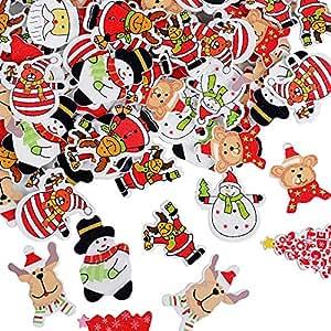 Bouton de Noël en Bois Scrapbooking Bonhomme de Neige 22mm Lot de 10