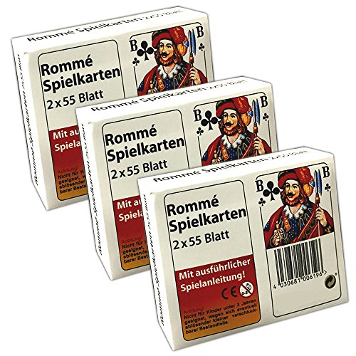 HAC24 3 Packungen Romme Spielkarten 2X 55 Spielkarten | Canasta Bridge Kartenspiel -
