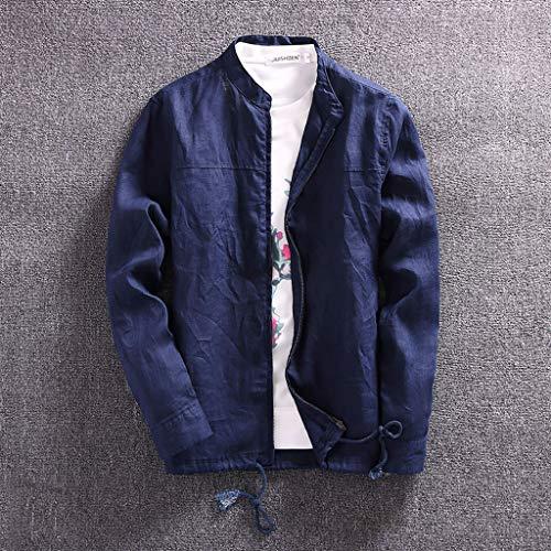 TianranRT Herrenmantel,Herrenmode Lässig Feste Langarm-T-Shirts Mit O-Ausschnitt Oberteile Blusen Jacke Mit Reißverschlussimitat,Navy(Xxl) (Navy Aloha Shirt)