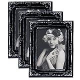 EUGAD 3er Set Bilderrahmen BR9748-3 Kunststoffrahmen, Glasscheibe, Antik Barock, Zum Aufstellen, Zum Aufhänger, (Grau/Silber, 10x15)