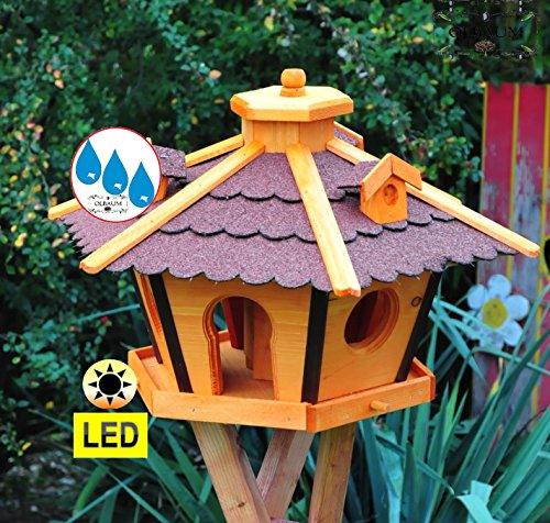 Vogelhaus Massivholz,Massiv-WETTERFEST, mit Ständer Standfuß und Silo,Futtersilo für Winterfütterung mit Beleuchtung,Licht-LED -Holz Nistkästen & Vogelhäuser- Futterhaus groß ROT mit Ständer rot BRL45roMS - 2