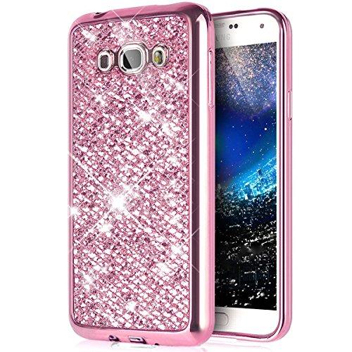 Samsung Galaxy J7 2016 Cover,Samsung Galaxy J7 2016 Custoida,KunyFond Cover Custodia per Samsung Galaxy J7 2016 in Silicone Diamante Bling Glitter Custodia Cover Moda Lusso Placcatura Specchio Scintil rosa gliter