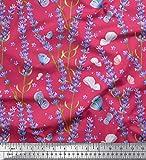 Soimoi Rosa Viskose Chiffon Stoff Schmetterling & Lavendel