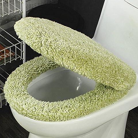 XQXSedili WC peluche set di due ispessito U-quadrati insiemi di toletta generale cuscino ammortizzatore impermeabile il sedile del water set di copertura , double color vanilla green , toilet seat two