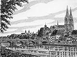 Kunstverlag Christoph Falk Einfarbige original Radierung Regensburg, Partie an der Donau von H.Sommer als loses Blatt, G