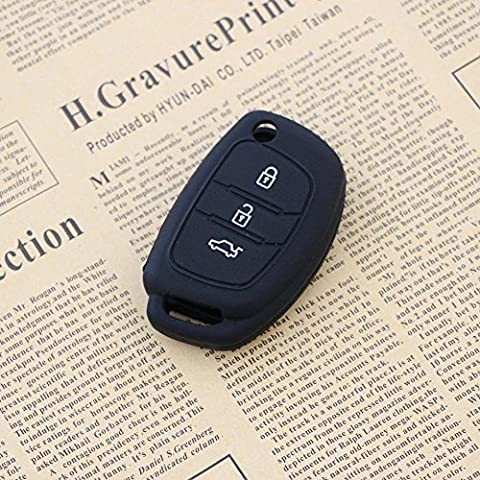 JessicaAlba® 3 Buttons Remote Skin Jacket Silicone Cover KEY Case Holder BAG Key Fob Skin Covers replacement for Hyundai i30 IX25 IX35 IX45 Santa Fe Elantra Accent by JessicaAlba