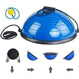 ISE Balance Trainer, Demi-Ballon d'Entraînement Ø 62 cm, avec Câbles de Resistance et Pompe, pour Yoga, Gymnastique et Autres Sports BAS-1001