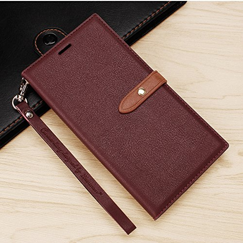 MOBII CARE'S Luxury Synthetic Leather Slim Wallet Flip Cover Case with Card Slots and Magnet Closure for Mi Redmi Note3 (Wine RED)