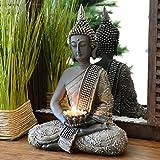 INtrenDU Buda Figura Decorativa Chino 31cm con candelabro decoración Zen para Interior Feng Shui