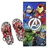 Cerdá Chanclas Avengers Marvel Niño Calidad Premium y Toalla de Playa Vengadores + Regalo - Microfibra 140x70 cm. - Avengers Flip Flop + Beach Towel (28/29)