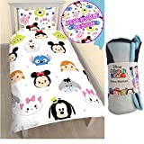 Disney Set of 3 Tsum Tsum Single Duvet Set and Fleece Blanket (Duvet Cover + Pillowcase + Fleece Blanket) Warm Soft Sleeping Set for Kids and Adults Bedrooms and for all Seasons, Best Gift for Christmas and Birthday