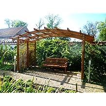 Sophie - Pérgola de madera para jardín con techo en arco y lados enrejados