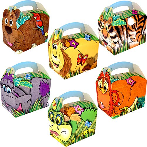 - 12 x Dschungel Tiere 3D ┃ Party Boxen mit Griff zum Befüllen ┃ Kindergeburtstag ()