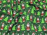 Weihnachten Bäume & Santa Print Polycotton Kleid Stoff,