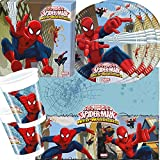 37-teiliges Party-Set Spiderman Web Warriors - Teller Becher Servietten Tischdecke für 8 Kinder