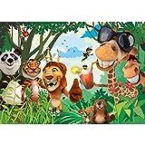 Vlies Fototapete PREMIUM PLUS Wand Foto Tapete Wand Bild Vliestapete - JUNGLE ANIMALS PARTY no.2 - Kinderzimmer Kindertapete Zoo Tiere Safari Comic Party Dschungel - no. 087, Größe:300x210cm Vlies