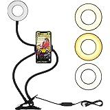 LEDGLE Selfie ringlampa med mobiltelefonhållare, 3 ljuslägen 10 ljusjustering flexibel långa armar montering på skrivbordet f