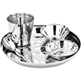 Cartoon Laser Print Stainless Steel Dinner Set for Kids - 2 Bowls, Glass, Spoon, Plate by S K Metal