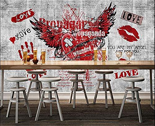 WLPBH Mural 3D Autoadhesivo Graffiti Love Wings Labios Rojos Palma (W) 200X (H) 150Cm Papel Tapiz Sala De Estar Dormitorio Restaurante Bar Oficina Corredor Decorativo Arte De La Pared Mural De Fotos