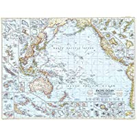 National Geographic: Pacific Ocean 1952 - Historic Wall Map Series - 37.5 x 29 inches - Paper Rolled