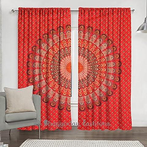indien plumes Mandala Tapisserie Rideau, 2drapé d'Ensemble de Boho Décor Panneau de vitrage, salon, chambre à coucher Décor 213,4x 203,2cm par Bhagyoday Fashions