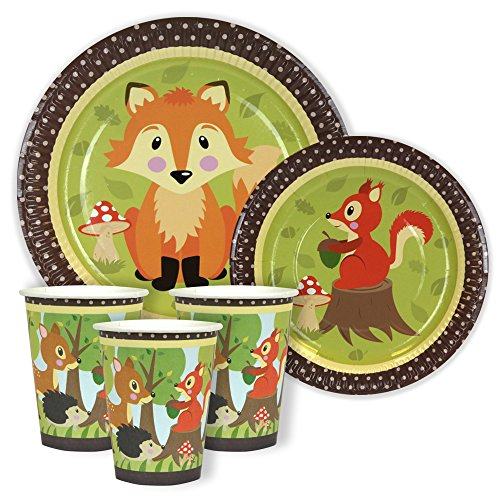 woodland-friends-party-dinner-dessert-paper-plates-and-cups-for-24-guests