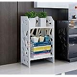 SS ARTS Engineered Wood Multi Purpose Desk Top 2 Tier Storage Stand ,Matte Finish,Set Of 1,White