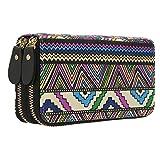 Geldtasche Damen Reißverschluss Brieftaschen - Geldbörse groß Kapazität Canvas Geldbeutel Tasche Damen Portemonnaie (Boho-2)