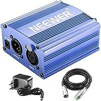 Neewer 1- Canal 48V Alimentation Fantôme Bleu avec Adaptateur et Un XLR Câble Audio