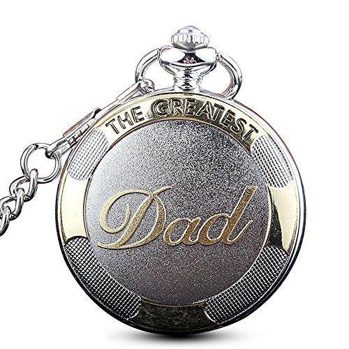 """Gorben orologio da taschino al quarzo, con scritta """"the greatest dad"""", con catena e scatola"""