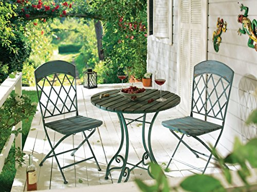 Gartenset Vintage, blau, Metall/Holz-Mix, Tisch ca. 74cm hoch, 65 cm ø, Stuhl ca. B40,5xT53xH95cm