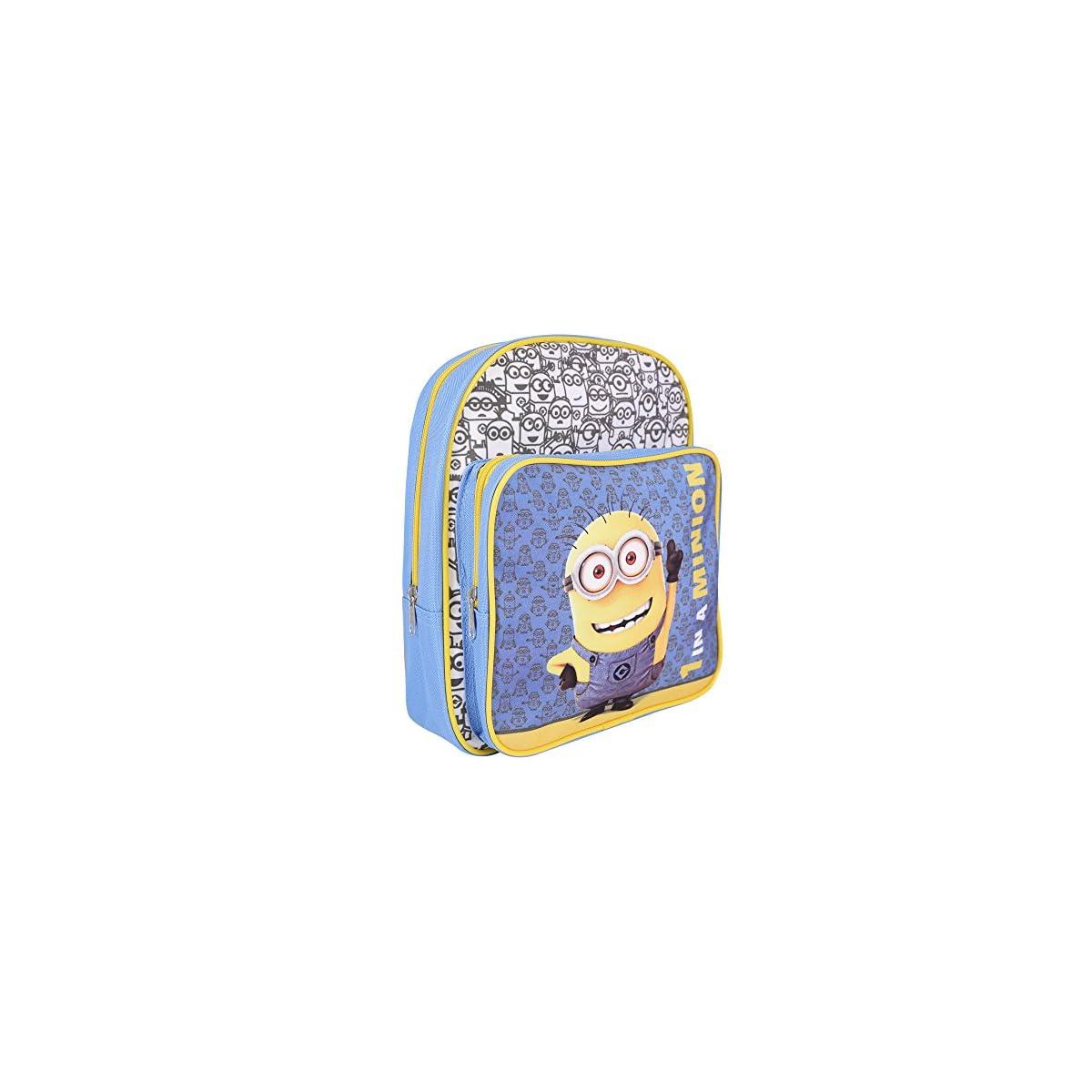 61jMU 7z06L. SS1200  - PERLETTI - Mochila de Niño Niña de Mi Villano Favorito Azul Amarillo - Bolso Escolar con Bolsillo Frontal Estampado Bob de Los Minions - Bolsa Escuela Viaje con Tirantes Regulables - 30x24x6,5 cm