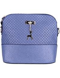 Zibuyu Women Ladies PU Clutch Hobo Shoulder Bags Handbag Messenger Bag(blue)