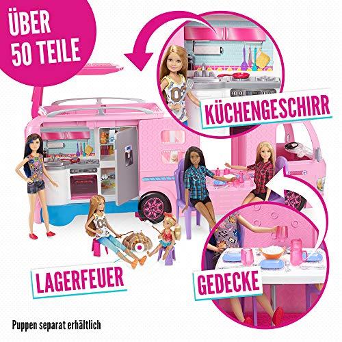 Barbie FBR34 - Super Abenteuer Camper, Puppen Camping Wohnwagen mit Zubehör, Mädchen Spielzeug ab 3 Jahren - 6