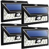 Mpow Luz Solar LED de Exterior con Energía Solar, Luz de Sensor de Movimiento Inalámbrico de Seguridad a Prueba de Agua para Patio, Cubierta, Patio, Jardín, Calzada, Pared Exterior con 3 Modos Activado por Movimiento, Sensor de Gran Angular 120°Distancia Sensor 10-11m( 4 paquetes)