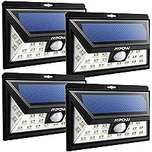 Mpow Luz Exterior Solar,24 LED con a Prueba de Agua Foco Solar, Lámpara de Sensor de Movimiento con Gran Angular 120° Distancia 10-11m 3 Modos para Patio, Cubierta, Jardín, Calzada, Pared Exterior(4 paquetes)